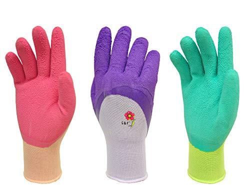 Women Gardening Gloves with Micro Foam Coating - Garden Gloves Texture Grip - Women's Work Gloves 3 Pair Pack - Working Gloves For Weeding, Digging, Raking and Pruning