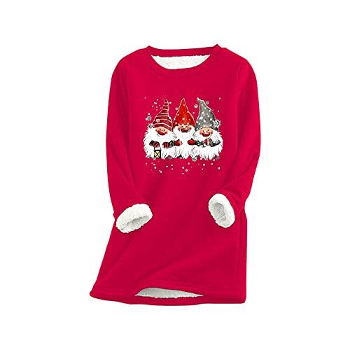 Weihnachtspullover für Damen, Weihnachten, Feo, Sweatshirt, Übergröße, Weihnachten, Pullover, Weihnachten, Motiv: Affen, Weihnachten, Mädchen, große Größe, breite Pullover, (#003)rot, Small