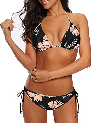 Century Star Women Tie Side Bottom Padded Top Triangle Bikini String Bathing Suit Two Piece Swimsuit Z Black Pink 8-10