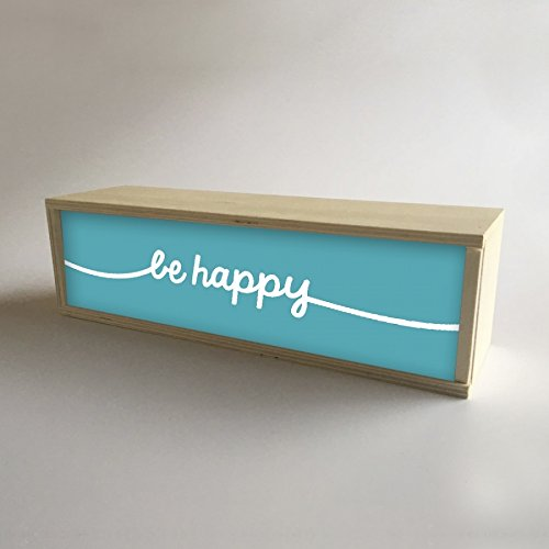 Caja de Luz Decorativa en madera y Turquesa con mensaje