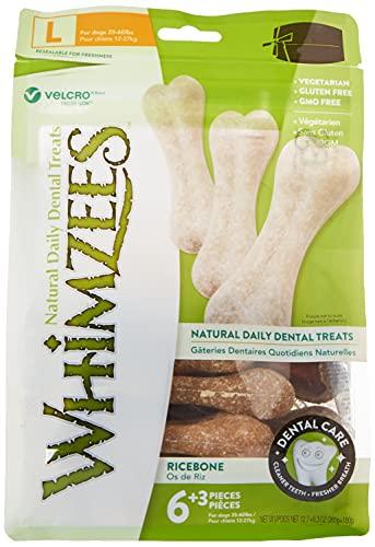 WHIMZEES Natural Dental Dog Mastica Larga duración, Hueso de arroz, 9 Piezas ⭐