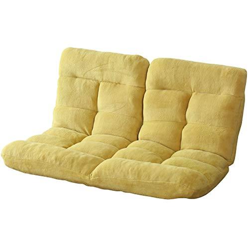 DORIS 座椅子 2人掛け ローソファ フロアソファ 左右独立リクライニング 奥行調整可能な2箇所の14段階ギア搭載 ふっくらサンゴマイヤー生地 ベージュ ピオンセ