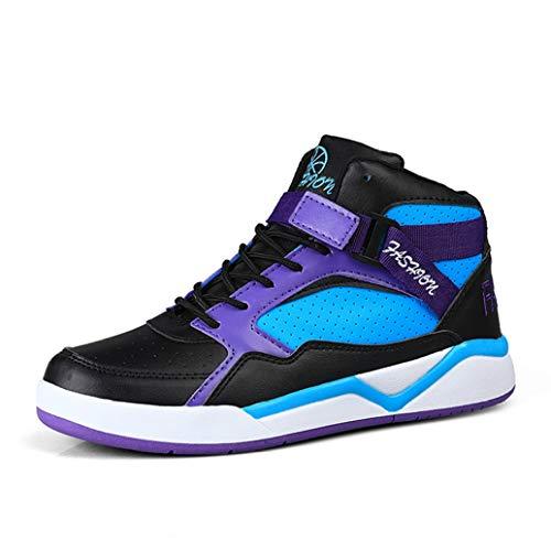Zapatillas de Baloncesto de caña Alta para Hombre Zapatillas de Deporte de amortiguación con Cordones de Color Mixto Zapatillas de Deporte Resistentes y Transpirables al Aire Libre