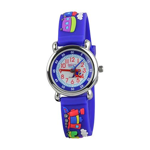 Kinder Quarz Uhr mit Eisenbahn Armband blau Kautschuk von Tee-Wee D4UW659B Analoguhr präsentiert von IMPPAC