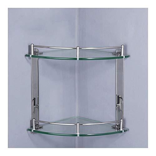 ZWJ douche glazen plank met 2 haken en handdoekhouder hoekplanken badkuip douchebak muur bevestigde mand driels evenwichtig glas 01-30