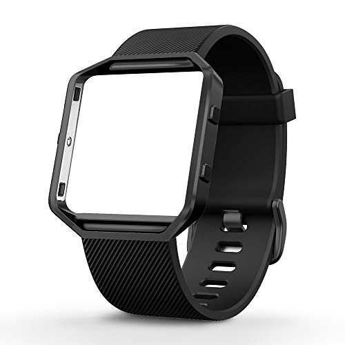 Compatible with Fitbit Blaze Bands with Stainless Steel Frame for Women Men, Silicone Sport Strap Replacement for Blaze Smart Fitness Watch …