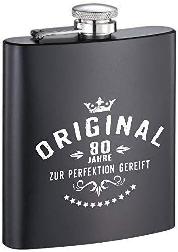 KMC Austria - Fiaschetta di design in metallo nero opaco, con incisione al posto dell'incisione – per compleanno – originale 80 anni per la perfezione