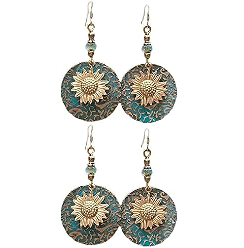 Bohemian Color Separation Double Sunflower Delicate Pattern Earrings Vintage,sunflower Dangle Earrings Oxidizied Earrings,sunflower Dangle Earrings,jewellery Gifts for Women Girls (4PCS)