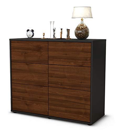 Stil.Zeit Sideboard Dalida/Korpus anthrazit matt/Front Holz-Design Walnuss (92x79x35cm) Push-to-Open Technik & Leichtlaufschienen