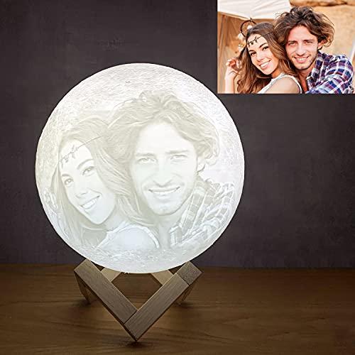 """Lámpara Luna Moon impresa en 3D personalizada, 3 colores personalizados con soporte con imagen grabada Regalos para cumpleaños, bodas, día de San Valentín, regalo romántico 20 CM """""""