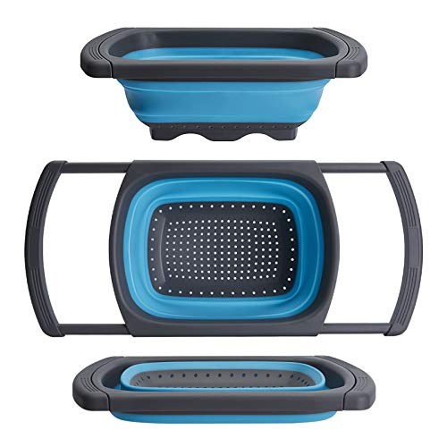 Collapsible Colander, Collapsible Strainer Colander Over The Sink Strainer Collapsible Strainer With Extendable Handles Veggies Fruit And Pasta Foldable Strainer For Kitchen 6-Quart BPA Free (blue2)