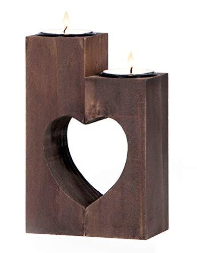 Plogis Herz Teelichthalter aus Holz - Set aus 2 Dekorativen Kerzenständern   Wohnungs-Deko & Romantische Kerze   Geschenk für Freundin, Hochzeit, Familie   15cm Groß