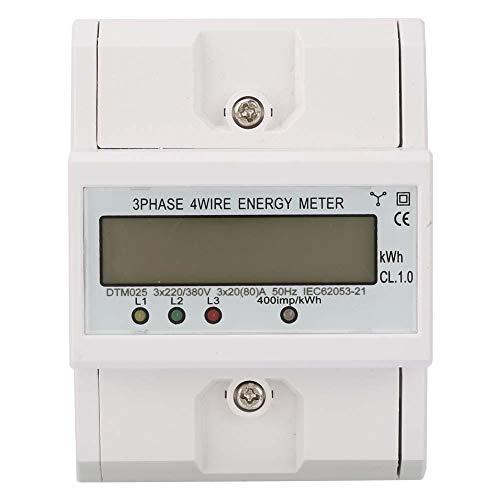 Medidor de energía, DTM024 kwh medidor trifásico multifuncional 220 / 380V 20-80A 4P, Contador digital de consumo energético, Montaje en carril DIN de 35mm