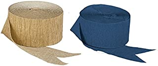 Gold Metallic Crepe Paper Combinations (Navy Blue and Gold Metallic), 290 FEET Total, Made in USA