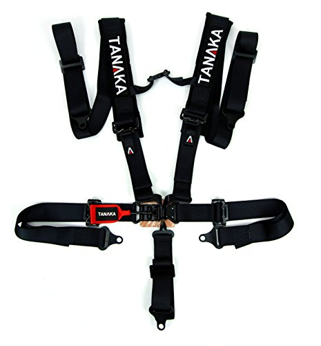 Tanaka Black Series Latch and Link 5 Points Safety Harness Set with Ultra Comfort Heavy Duty Shoulder Pads (for one seat/Youth use) (Black) (2')