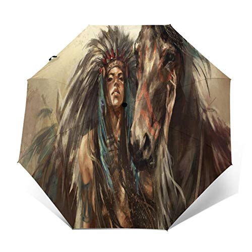 TISAGUER Paraguas automático de Apertura/Cierre,Pintura al óleo de Arte Dibujado a Mano,Mujer Tribal Hermosa Sexy,Caballo,tótem,Paraguas pequeño Plegable a Prueba de Viento