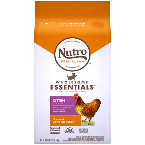 NUTRO Wholesome Essentials Natural Dry Cat Food, Kitten Chicken & Brown Rice Recipe, 5 lb. Bag