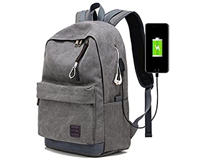 Laptop Backpack for Men Back Pack with USB Charging Port,Notebook Lightweight Travel Backpack (Grey) by Hoperay
