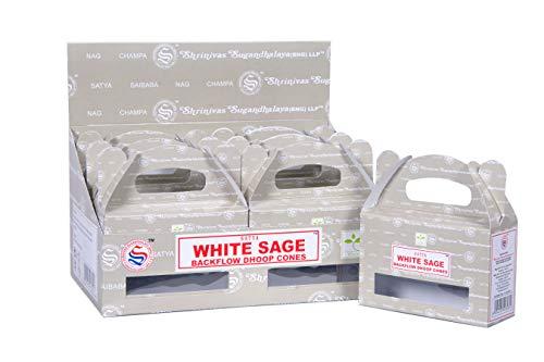 Satya Sai Baba - Incienso natural con reflujo de salvia blanca 120 conos en paquete de 12 cajas | mejor para oración, meditación y relajación