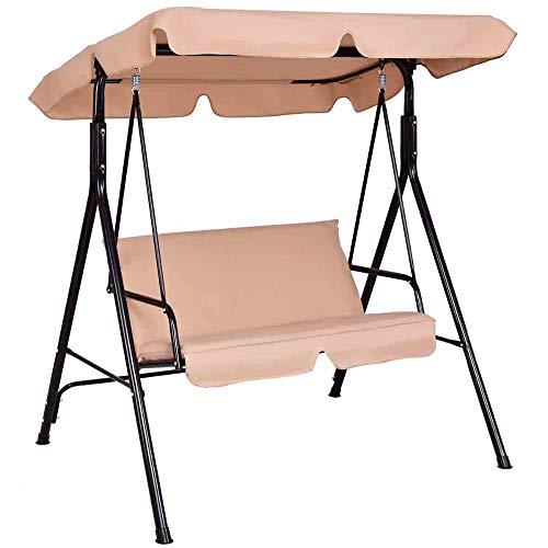 Wenhu Causeuse Patio Canopy Balançoire Planeur hamac Cushioned Cadre en Acier Banc Patio Balancez Meubles de Jardin,B