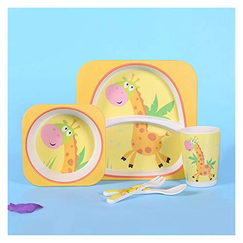 Plato de Cena Eco-Friendly Fibra de bambú Niños Vajilla Juego Conjunto de Cinco Piezas Kindergarten Bebé Hogar Lindo Dibujos Animados Polvo de Bambú Placa de Cena (Color : Yellow)