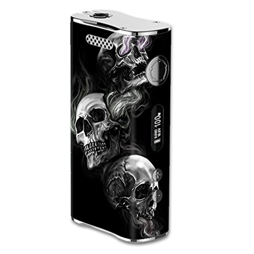 Skin Decal Vinyl Wrap for eLeaf iStick 100W Vape Mod Box / glowing Skulls in Smoke