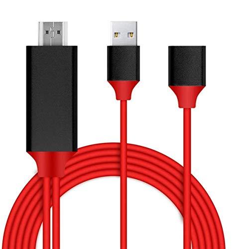 Cable de teléfono móvil a HDMI para dispositivos iOS y Android a HDTV,adaptador universal de teléfono a HDTV para iPhone,Samsung,iPad,iPod a TV,proyector o monitor,1080P,Plug and Play.(3FT ROT)