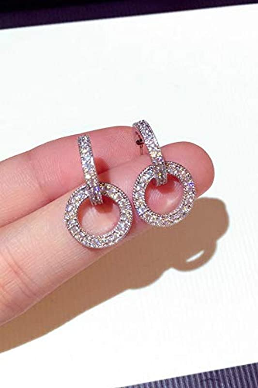 State S925 Silver Needle Diamond Earrings Earings Dangler Eardrop Cents Zircon Diamond Circle Women Girls Long White Fungus Ornaments Girlfriend Creative Valentine S Day Gift