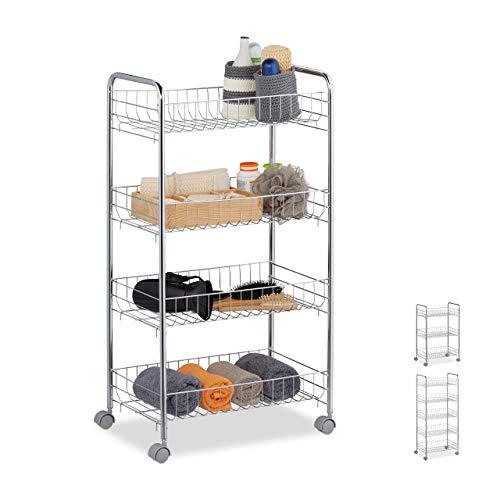 Relaxdays Rollregal, 4 Etagen, 4 Rollen, Allzweckwagen für Küche, Bad, Büro, Rollwagen, HBT 77 x 40,5 x 26,5 cm, Silber