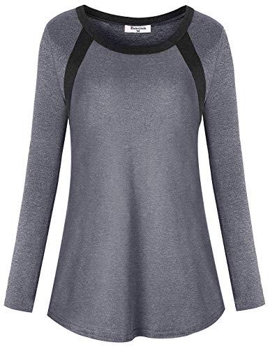 Bobolink Damen Langarm Workout Tops Cool Dri Fit Yoga Running T Shirts - - Groß