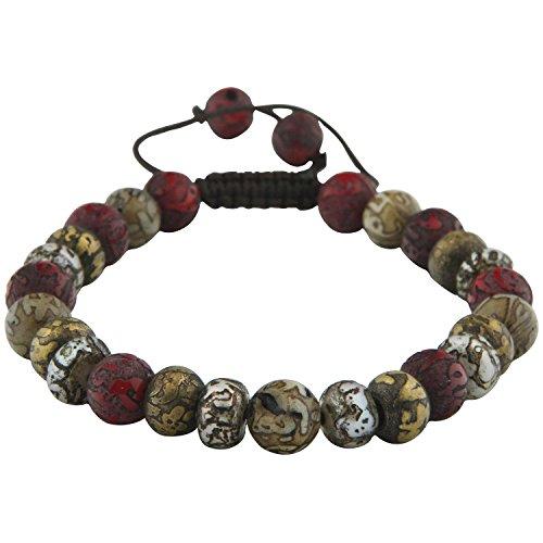 Buddha Groove Unisex Adjustable Handmade Beaded Tibetan Mantra Bracelet with Sacred Om Mani Padme Hum Mantra | Suitable for Medium to Large Wrist Sizes