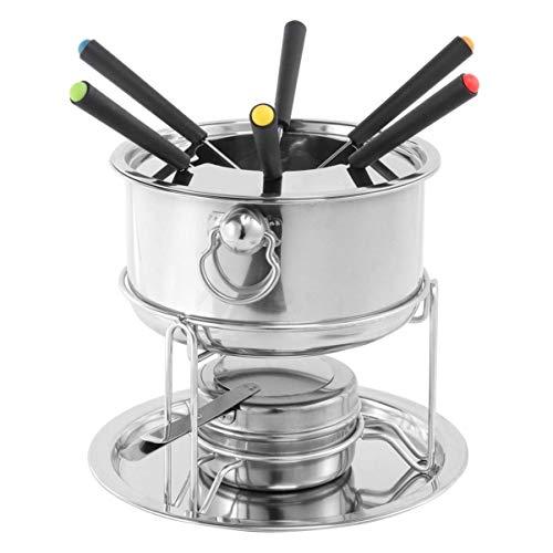 LGR Edelstahl Fondue Pot Set Temperaturkontrollierbares Kraftstofffondue mit Besteck für die Küche zu Hause Schokoladenkäse Schmelzen Silber