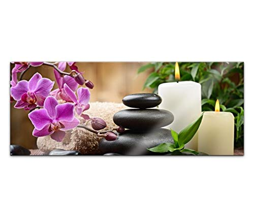 Acrylglasbild 100x40cm Wellness Steine Kat5 Orchidee Kerzen Acrylbild Acryl Bild UV Druck Acrylglas Tierwelt Acrylglasbilder 14G262