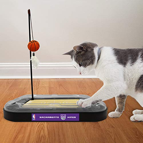 Cat Scratching Toy NBA SACRAMENTO KINGS Basketball Field Cat Scratcher Toy with Interactive Cat Ball Bell in Tracks. 5-in-1 CAT TOY: Cat Wand Poll with CATNIP FILLED Plush Basketball & Feathers.
