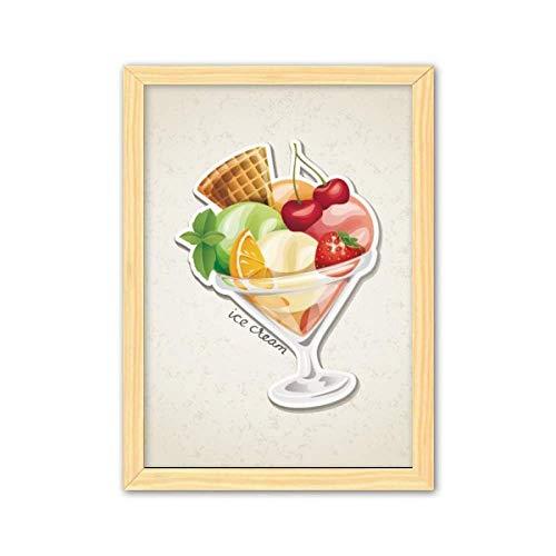 Marco de fotos decorativo de madera para decoración del hogar, color naranja cerezo, fresa, fruta, helado dulce, A4
