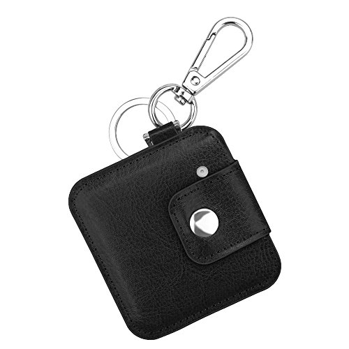 Fintie Tile Slim Case with Carabiner Keychain, Anti-Scratch Vegan Leather Protective Skin Cover for Tile Slim Item Tracker Phone Finder, Black