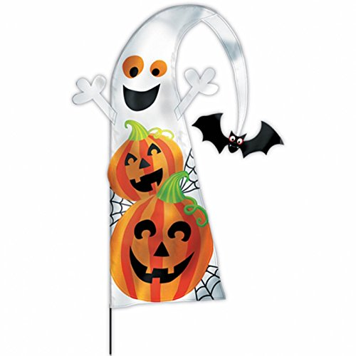 Feather Flag Yard Stake Family Friendly Halloween Trick or Treat Party Outdoor Decoration, Fabric, 4'.