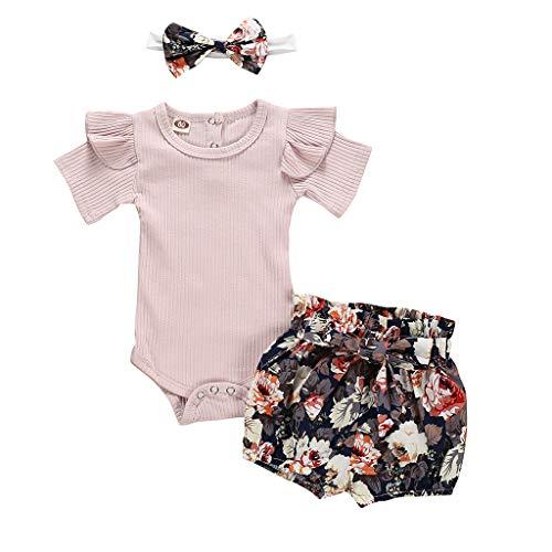 Neugeborenes Baby-Unisex Schlafsack Strampler Kinder Baby Mädchen Kleidung Strampler Bodysuit + Flower Print Shorts Set ODRD Mädchen Jungen Body Babyschlafsack