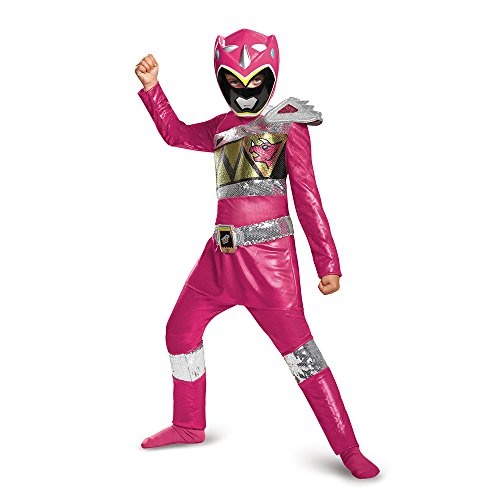 Disguise Pink Ranger Dino Charge Sequin Deluxe Costume, Large (10-12)