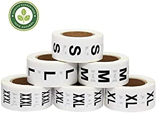 Hcode 1 Inch White Round Retail Clothing Size Label Adhesive Apparel Size Stickers A Set of 6 Rolls S M L XL XXL XXXL Total 3000 Pieces