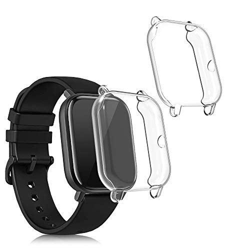 kwmobile Set 2X Compatibile con Huami Amazfit GTS 2 Mini Cover Protettiva - Custodia Full Body Smartwatch - in Silicone - Trasparente