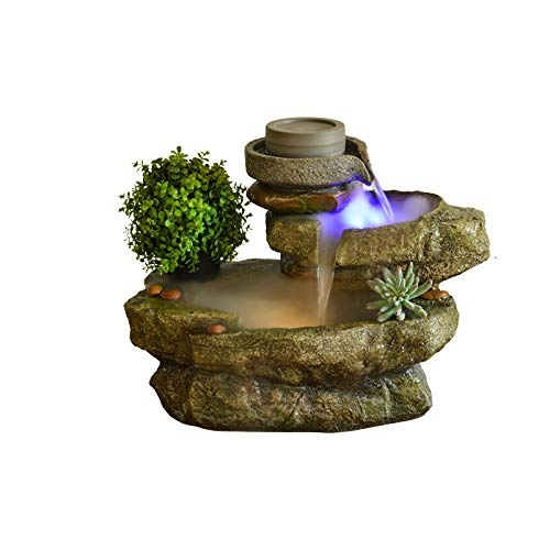 Fuente de Agua Fuente de rocalla Creativa Fuente de Cascada de Resina Interior Agua Corriente Hogar Jardín Oficina Humidificador de Escritorio,Decoración de Fuente de Escritorio