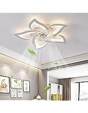 Dimbare led-plafondventilator met lamp, moderne creativiteit, 5 vlammige ventilatorplafondlamp, stil, 50 W, met afstandsbediening, ventilator, plafondlamp, eetkamer, slaapkamer, onzichtbare ventilator, wit, 60 cm