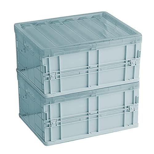 Caja de almacenamiento plegable organizador de contenedores, cesta de almacenamiento plegable de plástico, mini apilable, cesta de 10 L, caja plegable con tapas para niños, ropa (azul 2 unidades)