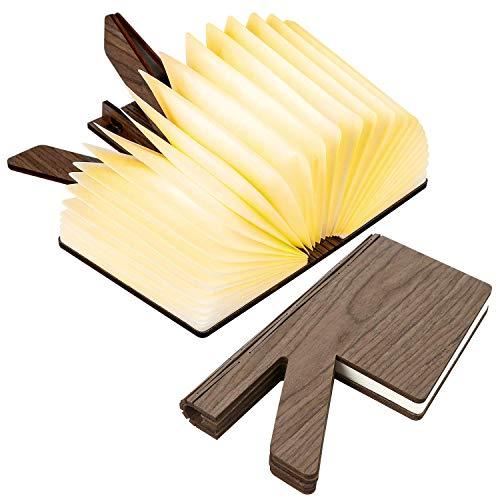 Lampada Libro Luce LED di Legno Pieghevole USB Ricaricabile, Lampada a Forma di R Libro Decorativi Lampada Regali di Natale per Bambini, Colleghi, Familiari e Amici