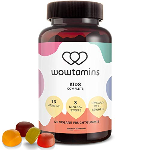 wowtamins KIDS Complete leckere Multivitamin-Fruchtgummis für Kinder - mit 13 Vitaminen, Omega 3 Fettsäuren & Mineralstoffen - ab 2 Jahren