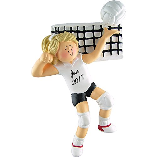 Calliope Designs Volleyball Personalized Christmas Ornament - Girl - Blonde Hair - Handpainted Resin - 5' Tall - Free Customization
