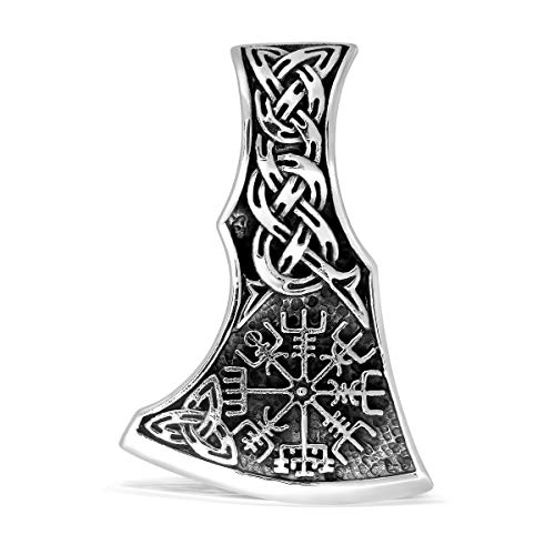 WithLoveSilver 925 Sterling Silver Viking Axe Amulet Slavic Celtic Triquetra Mjolnir Vegvisir Double Sided Pendant