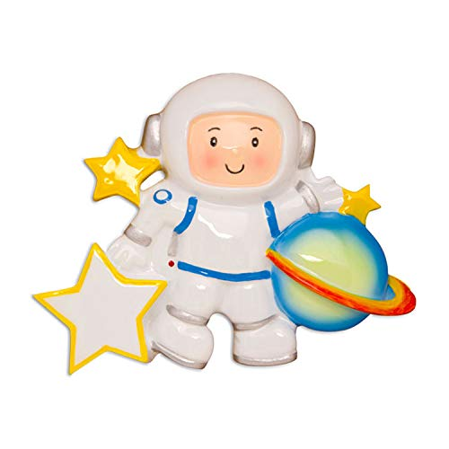 Personalized Astronaut Christmas Tree Ornament 2020 - Cosmonaut Kid White Planet Space-Flight Craft Dream Traveler Toy World Game Science Grand-Child Son Toddler Gift Year - Free Customization