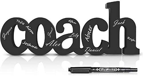 Coach Wood Word with Pen Personalized Coach Gift Wood Words Ready to Autograph Coaches Gifts product image